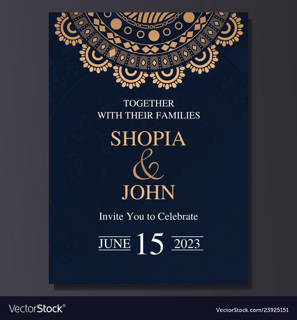 Luxury And Elegant Wedding Invitation Card With