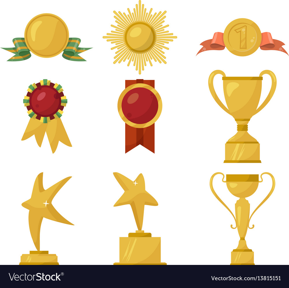 Medals and gold cups collection vector image