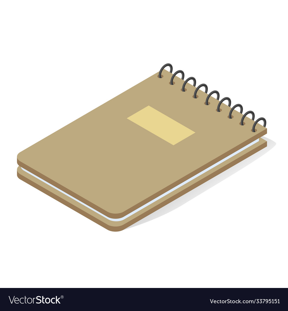 Notepad vertical spring isometric icon stationery