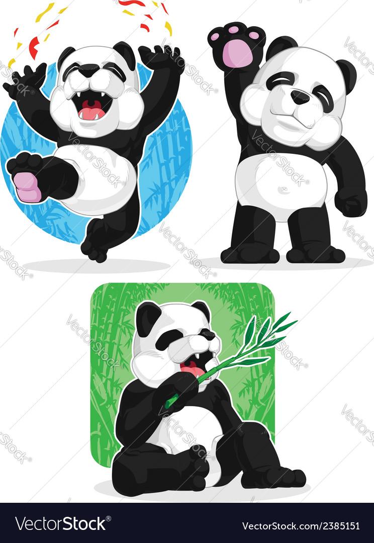 Panda set happy waving hand eating bamboo