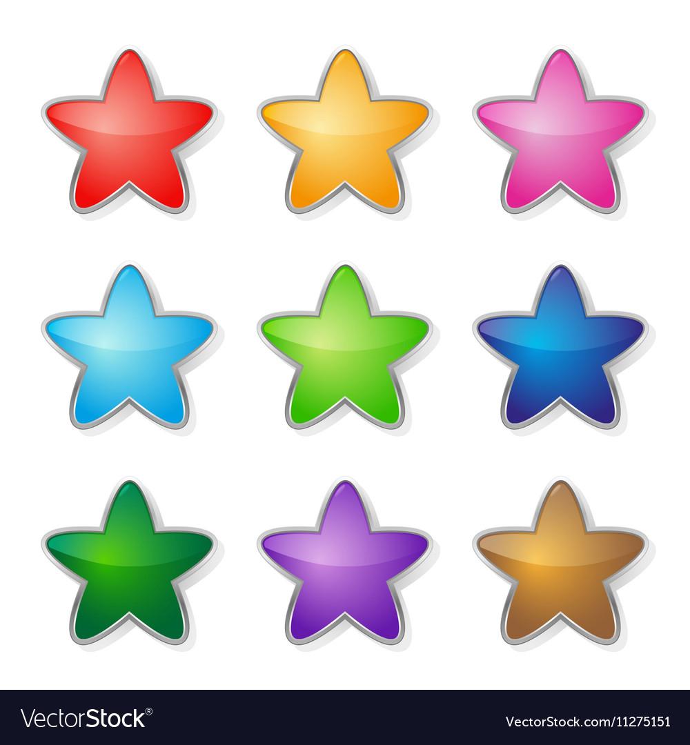 Set of multicolored stars