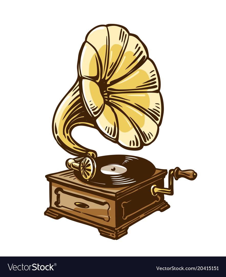 vintage phonograph gramophone sketch royalty free vector vectorstock