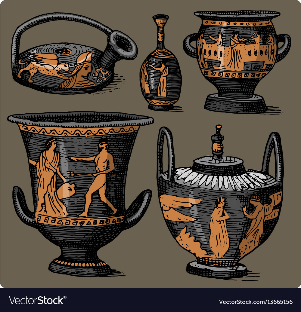 Ancient greece antique amphora set vase with