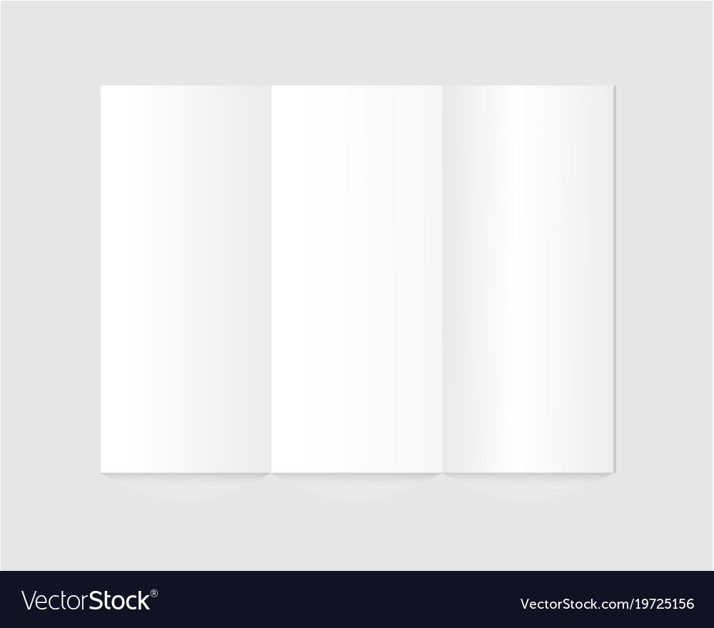 Blank trifold paper brochure on gray background