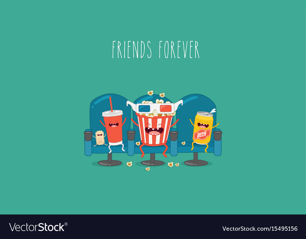 Cartoon fast food friends forever