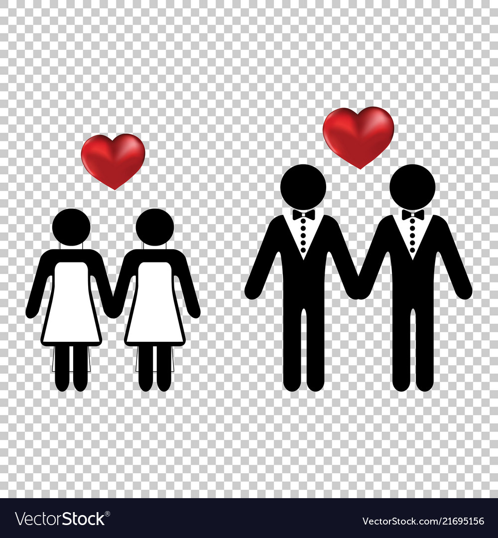 Couple or two homo lovers icon simple with a