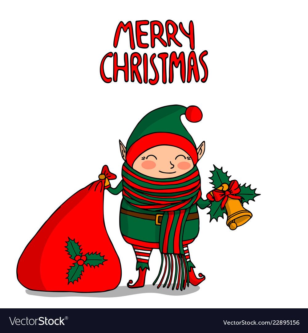 Cute funny cartoon character christmas elf with