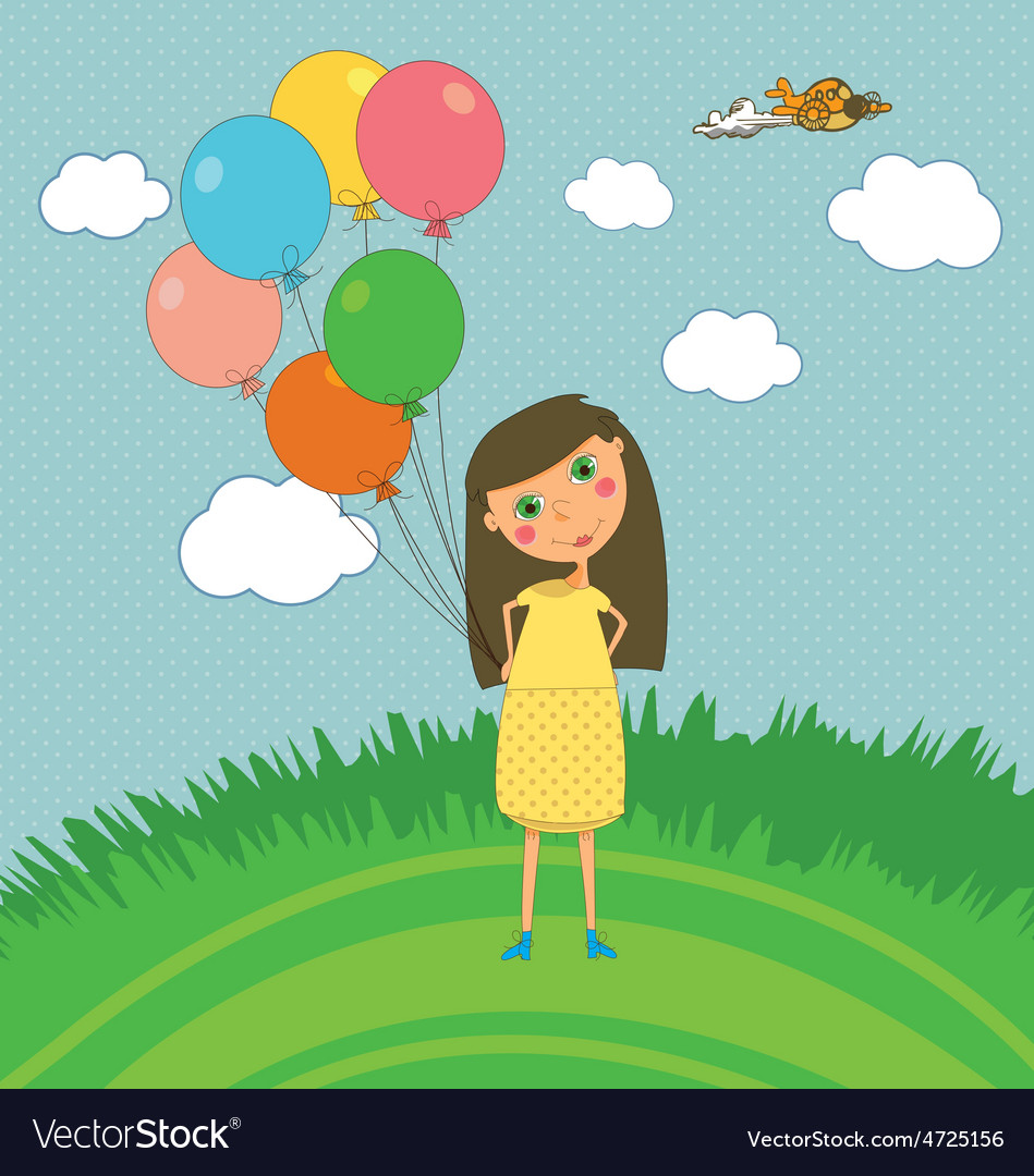 Girl Outdoors with Balloons
