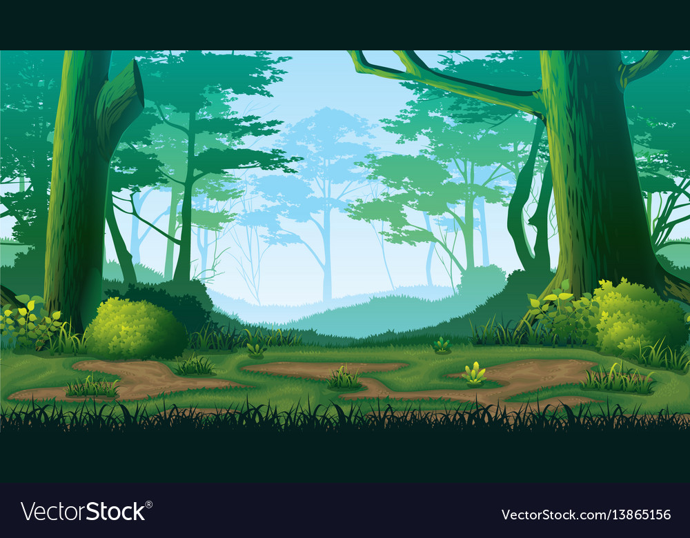 Seamless background with forest vector image