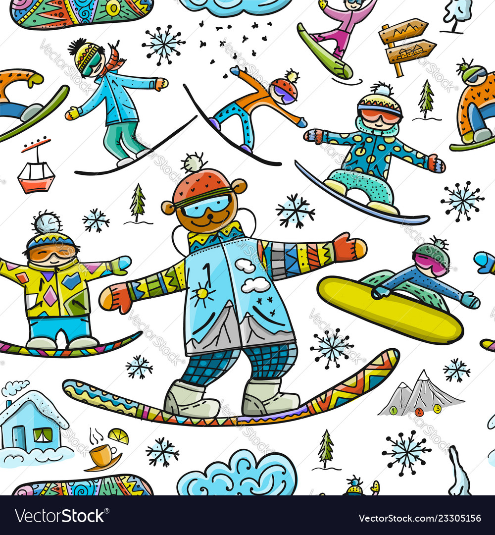 Snowboard time seamless pattern for your design