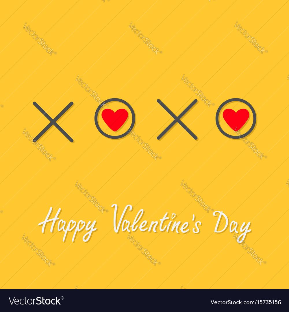 Xoxo hugs and kisses sign symbol mark love red vector image