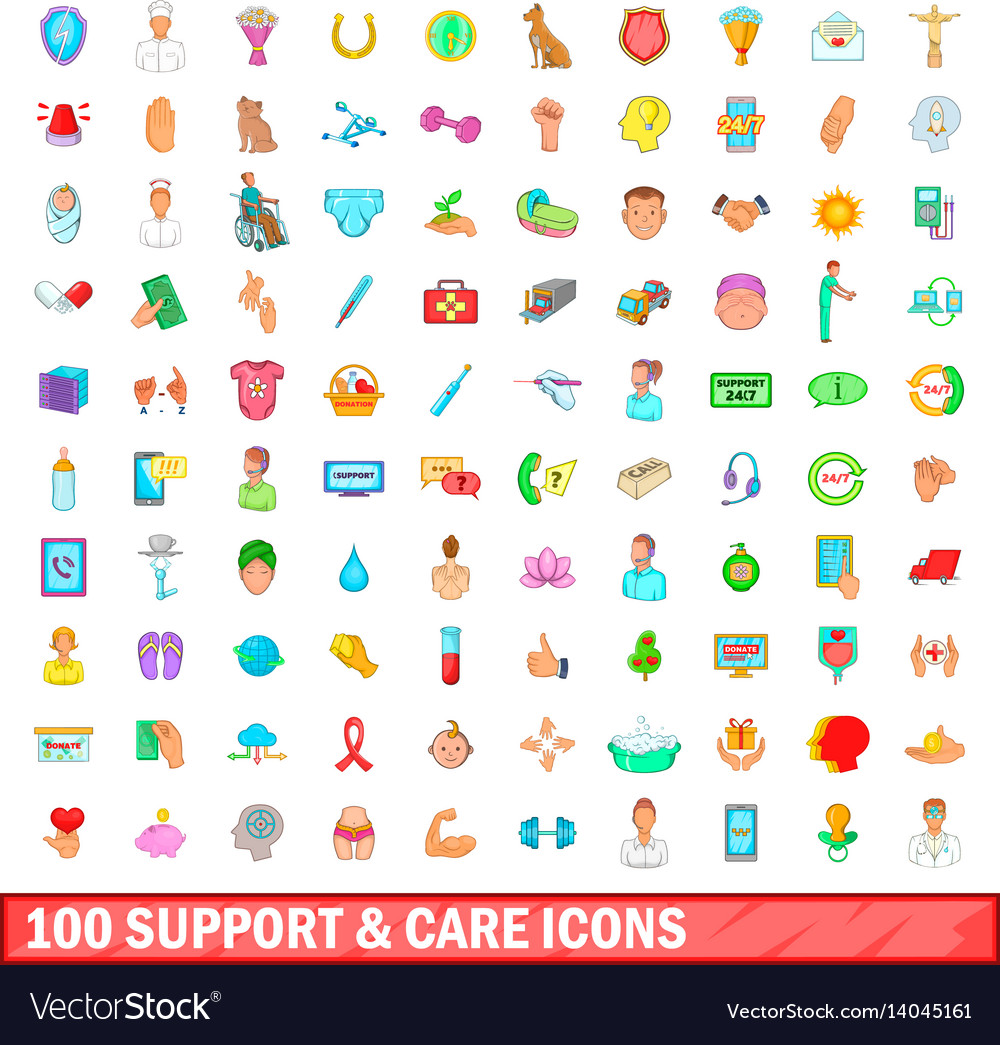 100 support and care icons set cartoon style