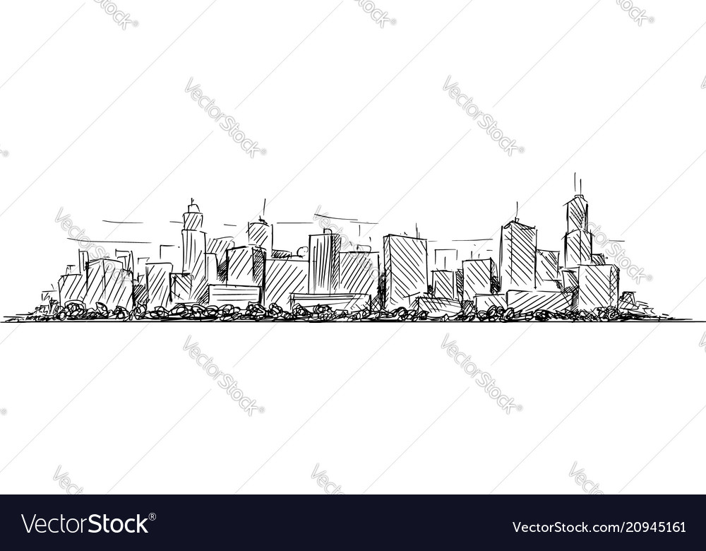 Artistic drawing sketch of generic city high rise