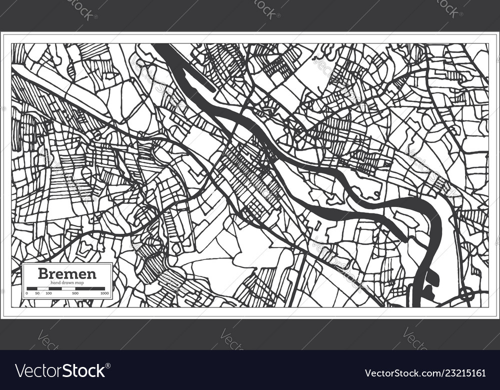Bremen Germany City Map In Retro Style Outline Map