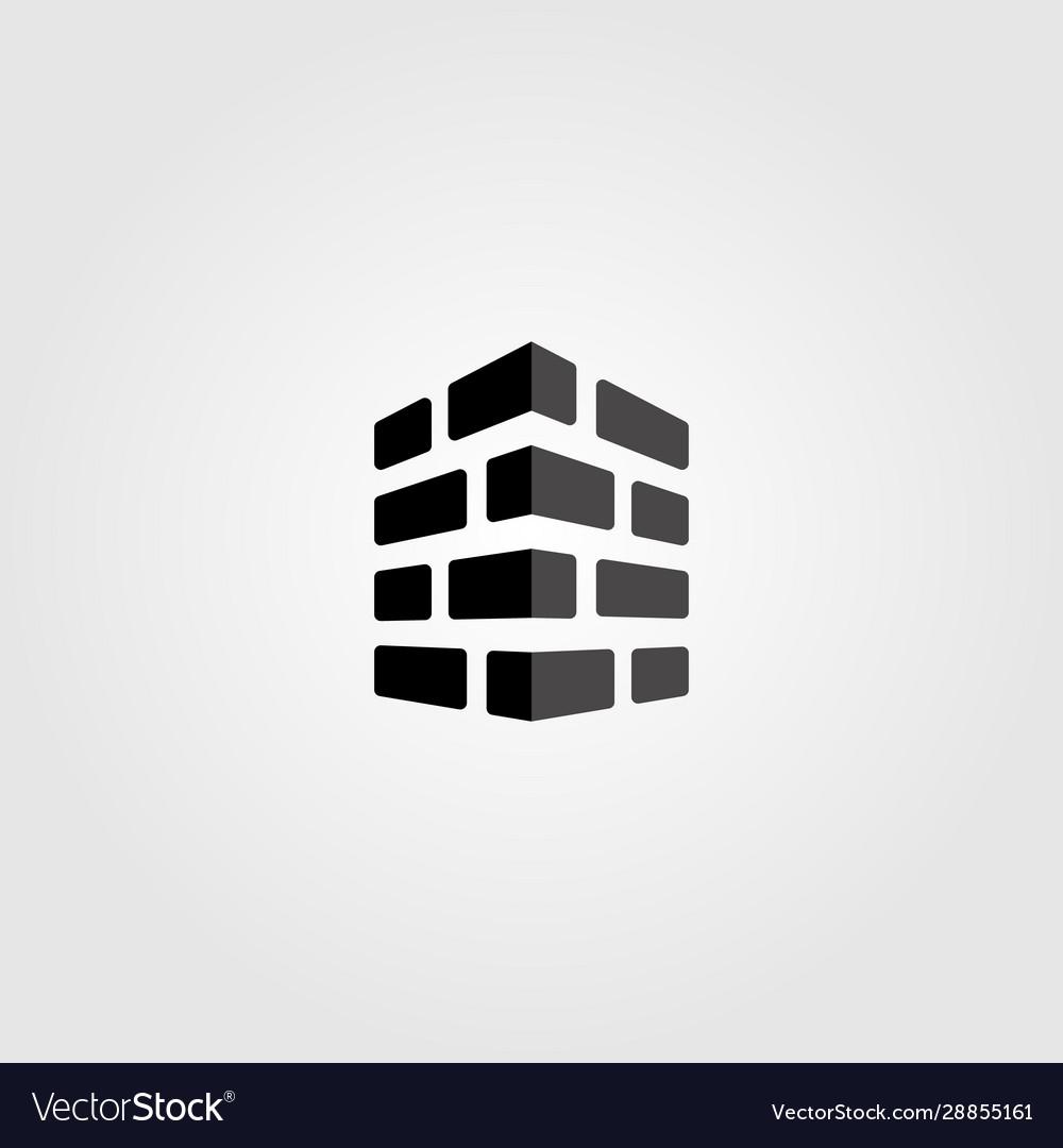 Bricks logo monochrome design label