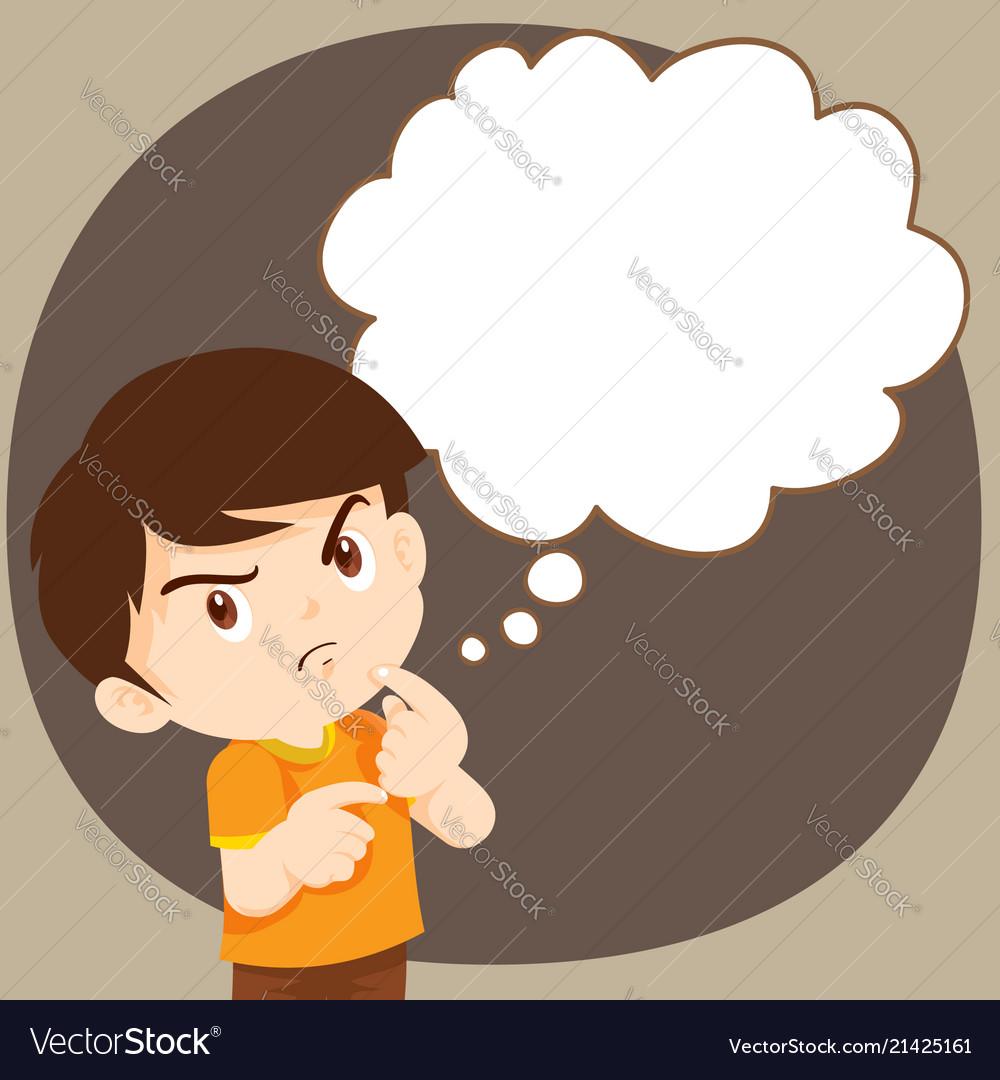 Children boy thinking actions