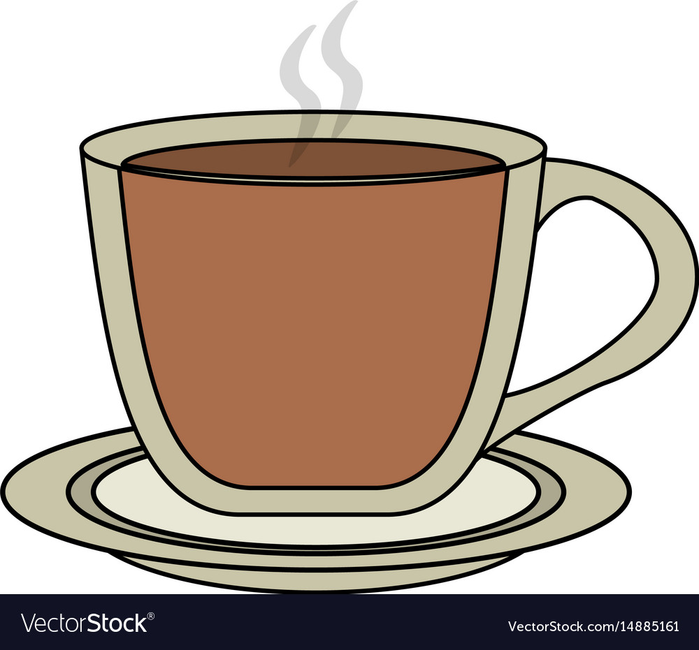 color image cartoon transparent cup of coffee with