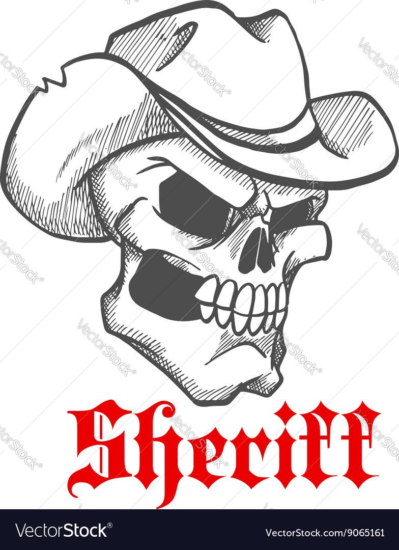 Dangerous skull sheriff in cowboy hat sketch