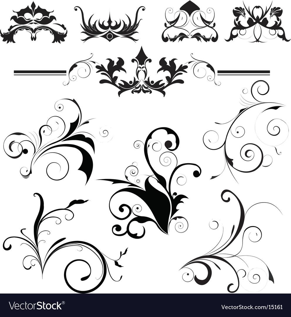 Design elements floral vector image