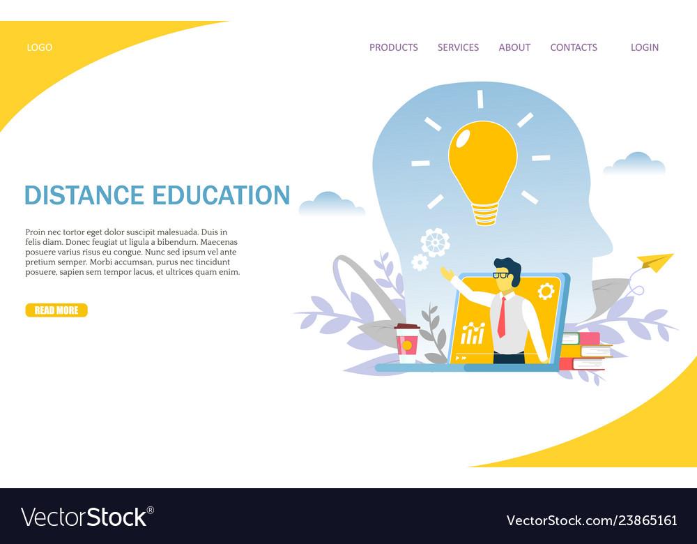 Distance education website landing page