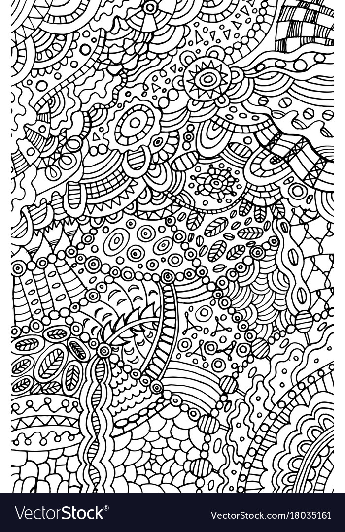 Doodle coloring page for adults background