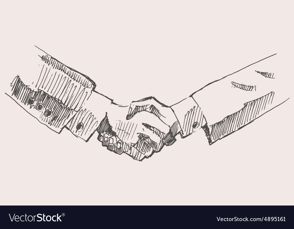 Drawing Shake Hands Partnership Sketch