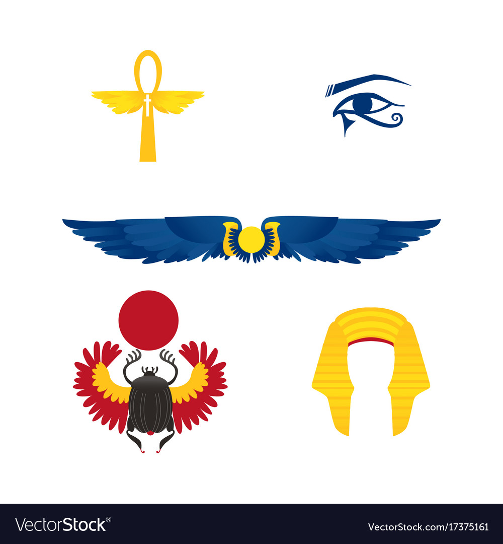 Egypt symbols - winged sun ankh crown scarab