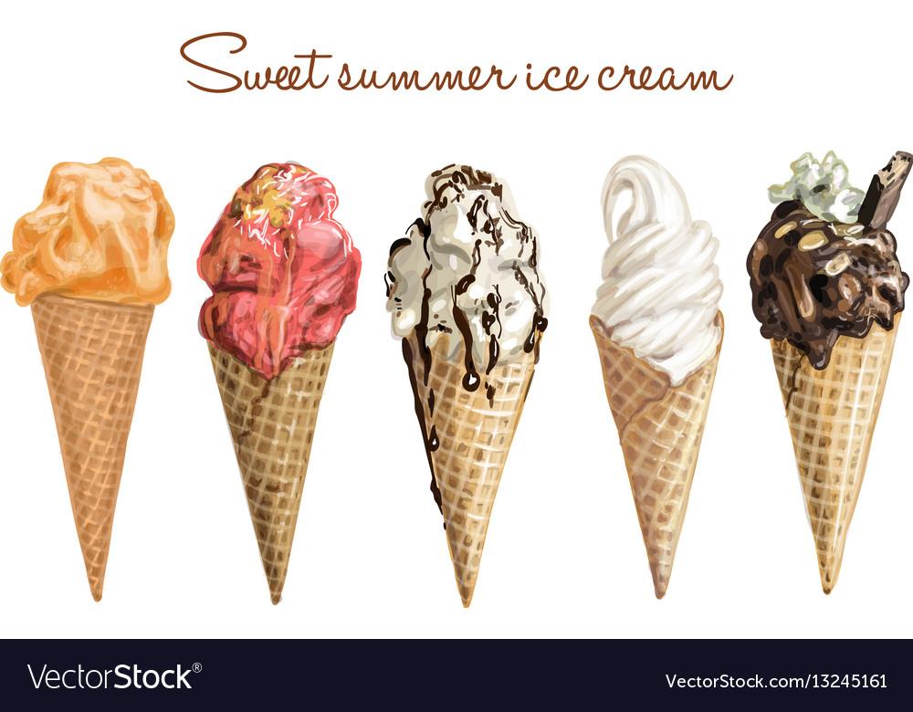 Hand drawn sweet ice cream vector image