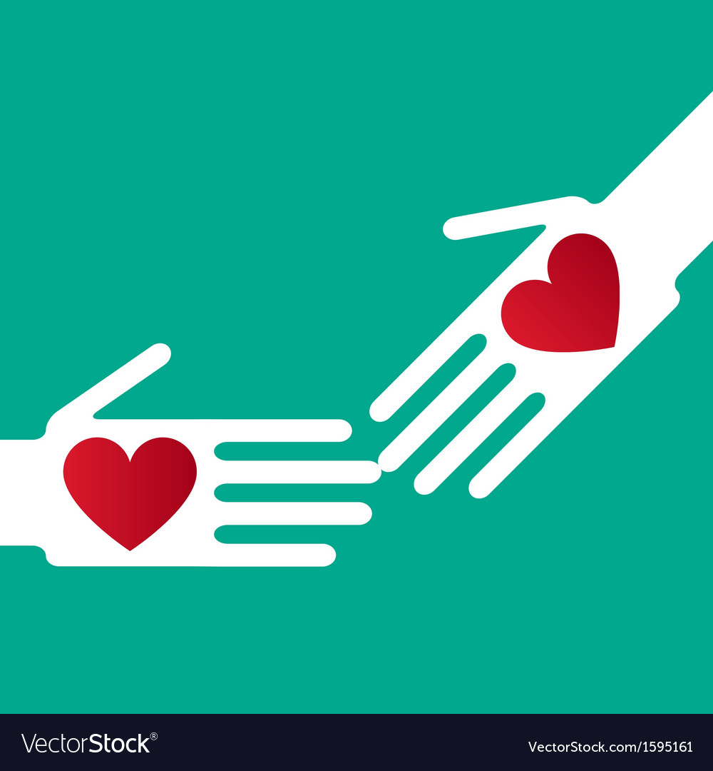 Helping hand whit hearts