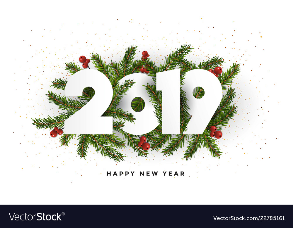 Holiday New Year Card 2019 Fir Branches
