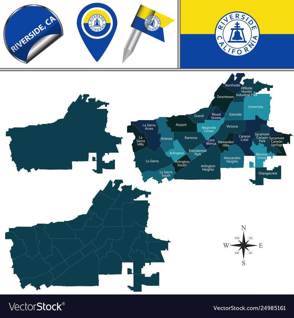 Map riverside ca with neighborhoods