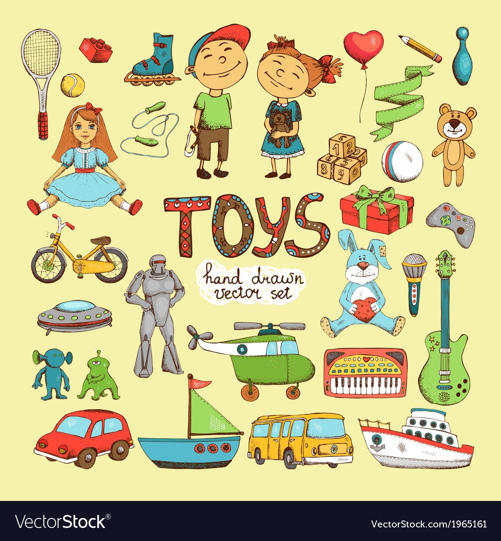 Set of cartoon toys vector image