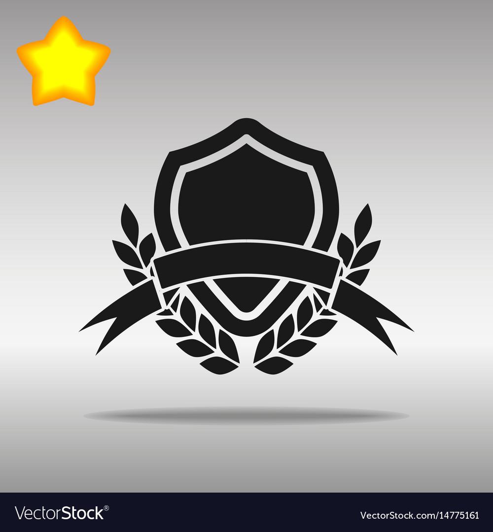 Shield banner black icon button logo symbol vector image