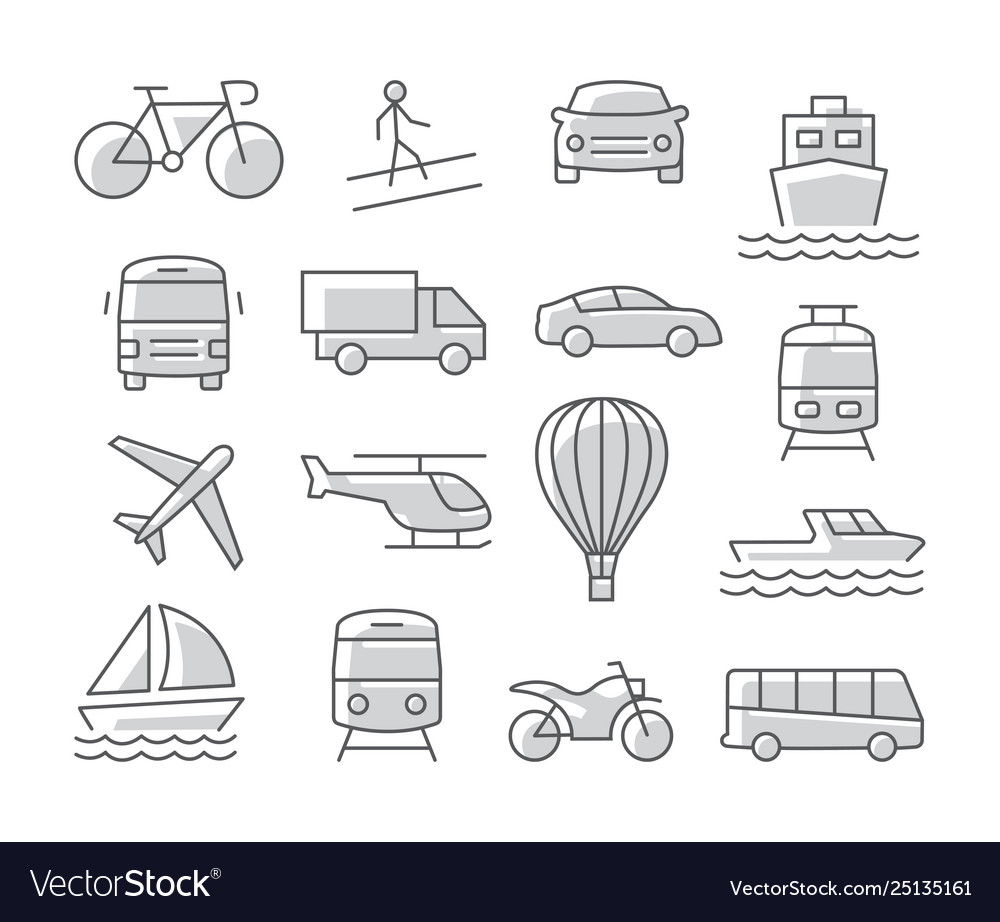 Transport icons set on white background