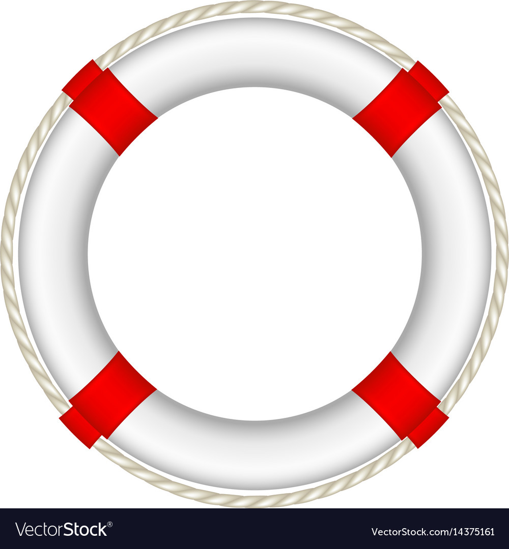7ec68123eb5 White life buoy with rope around Royalty Free Vector Image