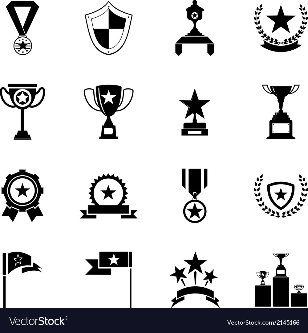 Awards Symbols and Trophy Silhouette Icons Set