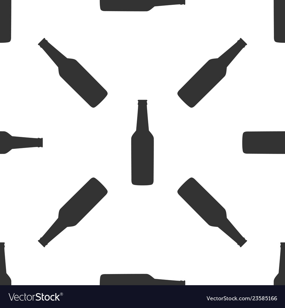 Beer bottle icon seamless pattern