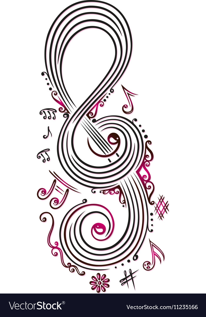 Big clef with music notes