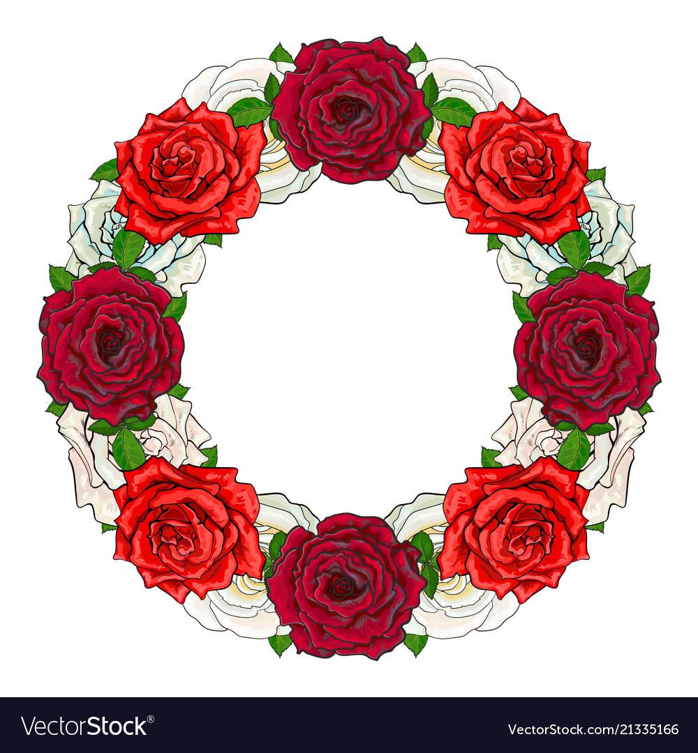 Hand drawn rose circle frame Royalty Free Vector Image