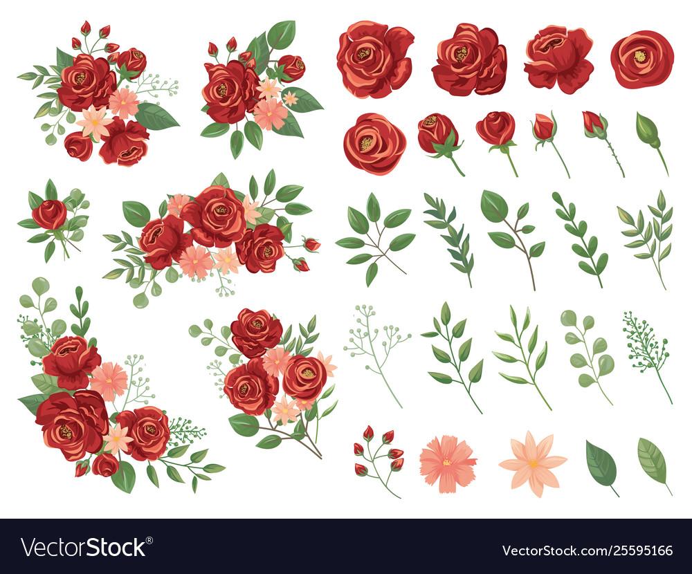 Red floral bouquet burgundy rose flower vintage
