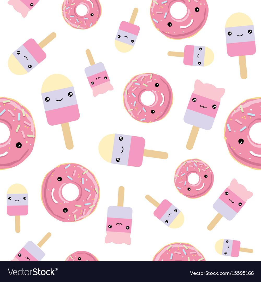 Seamless pattern cute kawaii styled ice cream and