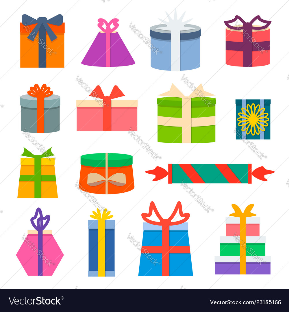 Set of different gift boxes flat design