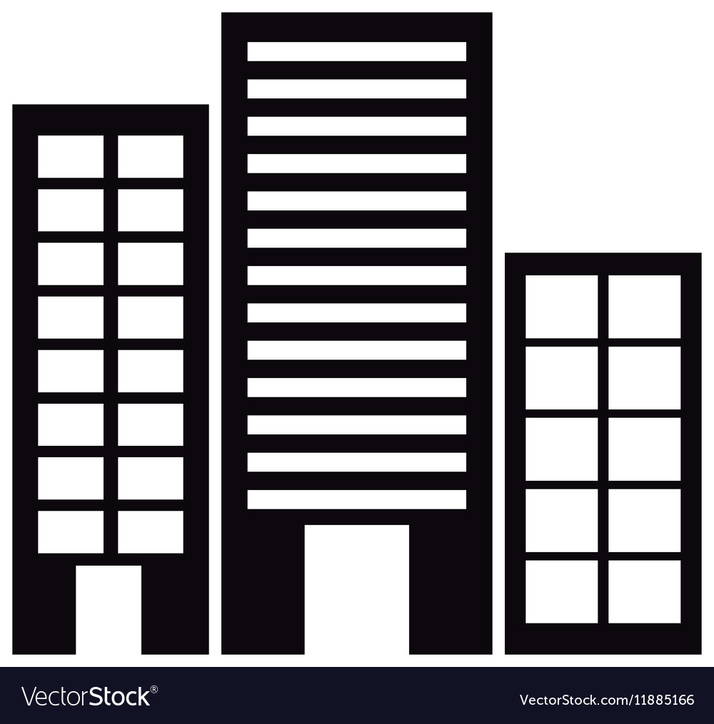 Silhouette monochrome with offices buildings