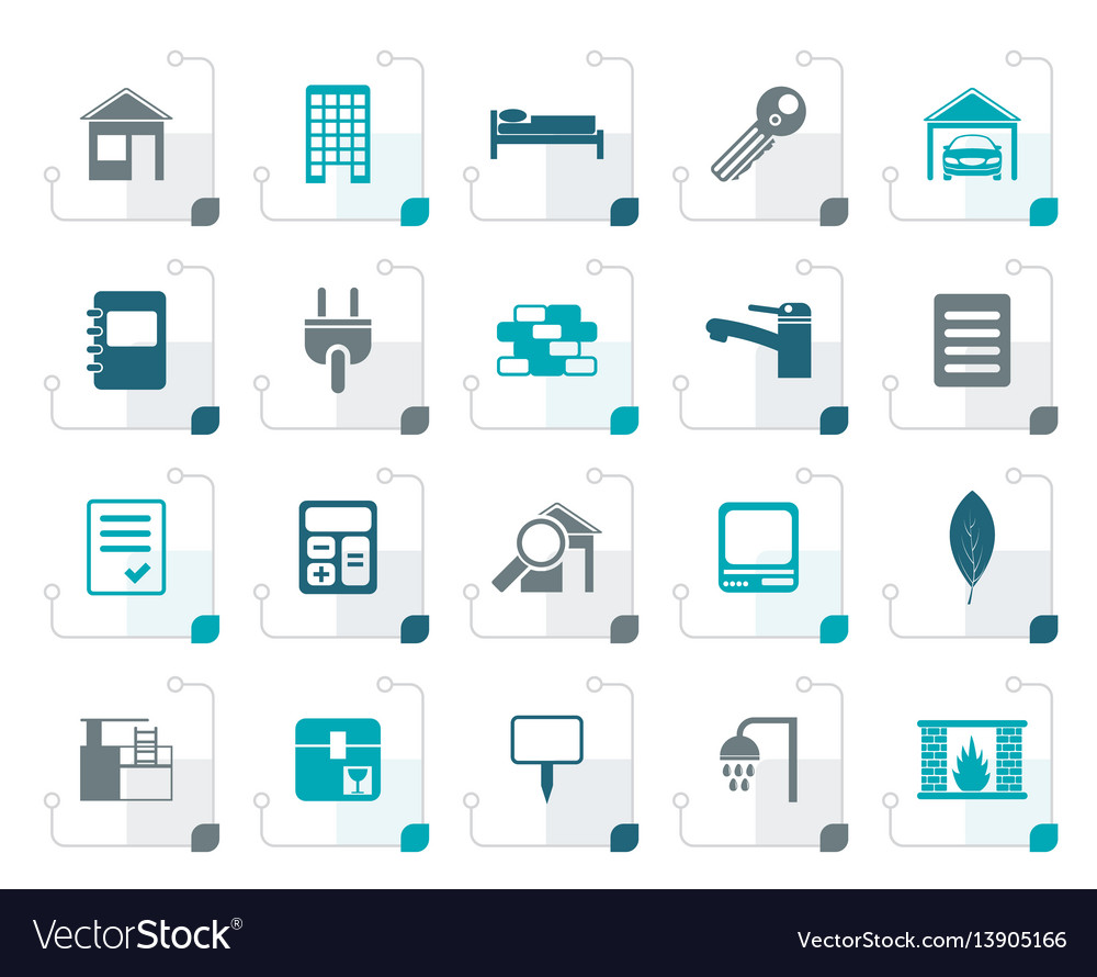 Stylized real estate and building icons