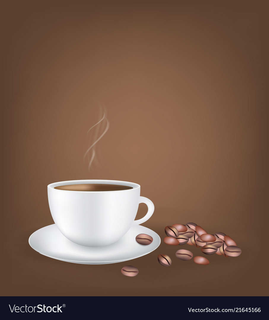 White Coffee Cup With Beans Dark