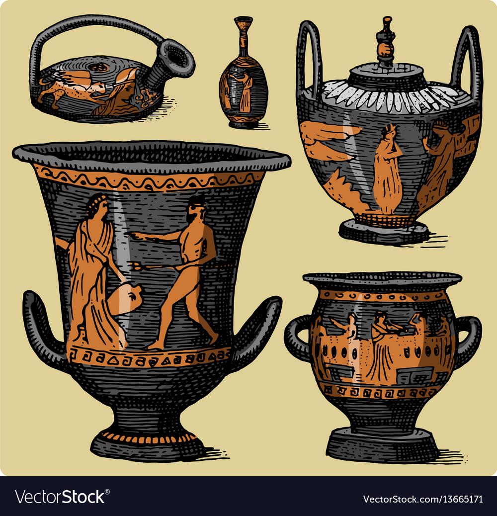 Ancient greece antique amphora set vase