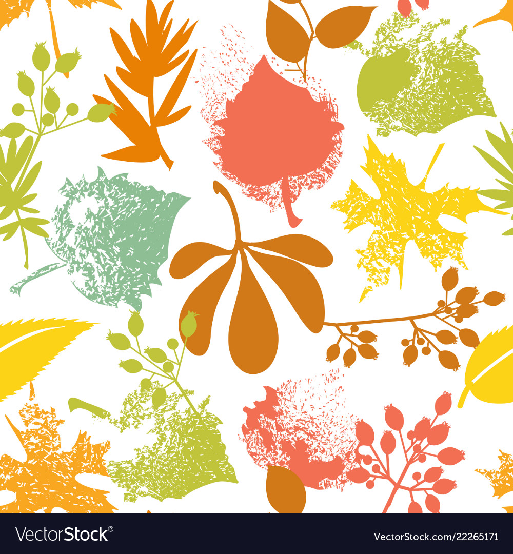 Fall leaf and rosehip pattern