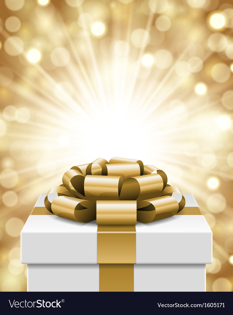 Gift box and light christmas background