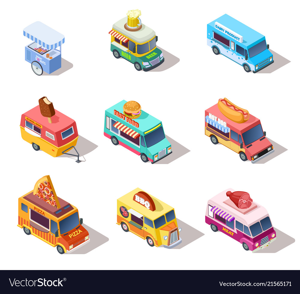 Isometric street food trucks and carts selling