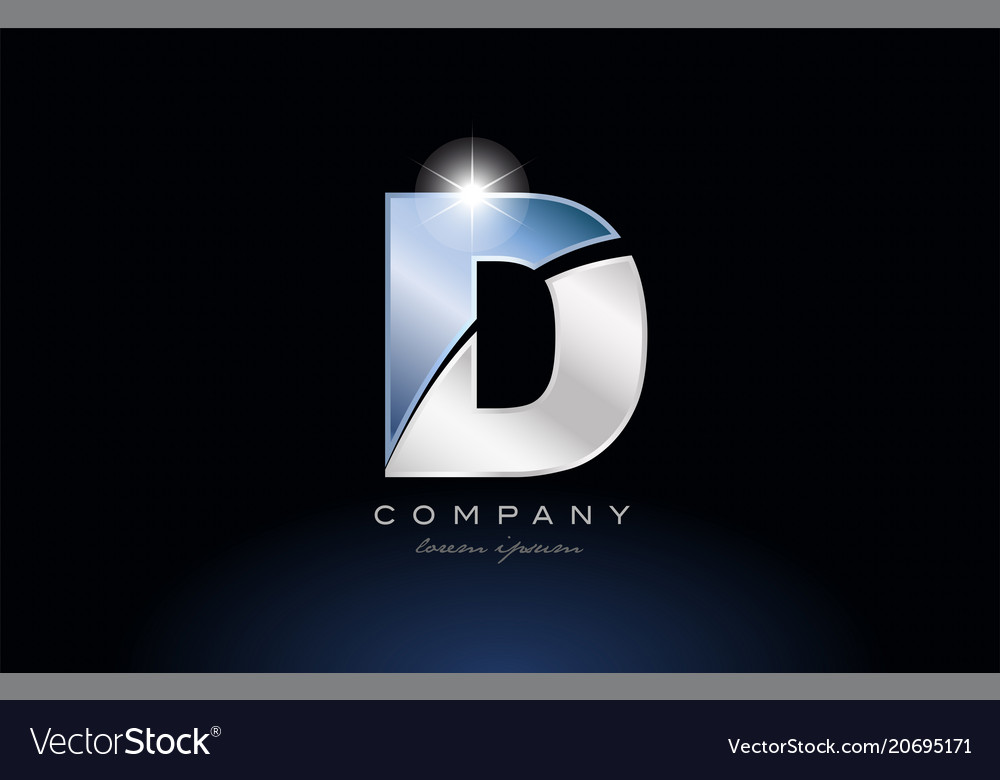 Metal Blue Alphabet Letter D Logo Company Icon